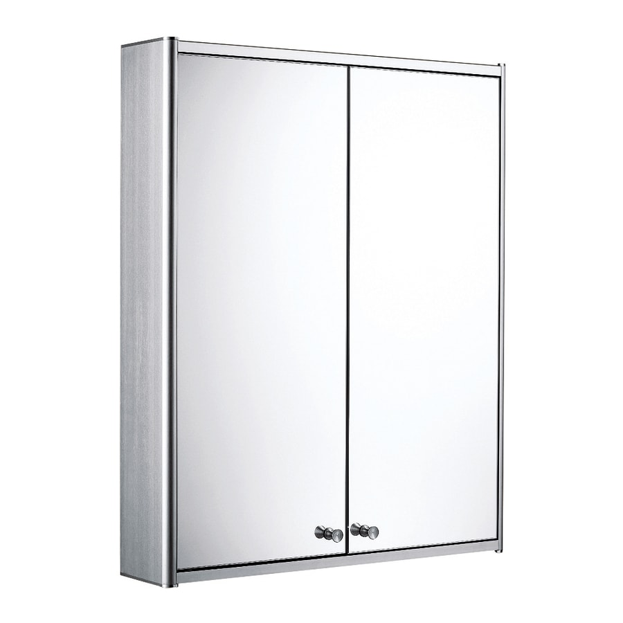Whitehaus Collection 23.6-in x 27.5-in Rectangle Surface Mirrored Aluminum Medicine Cabinet