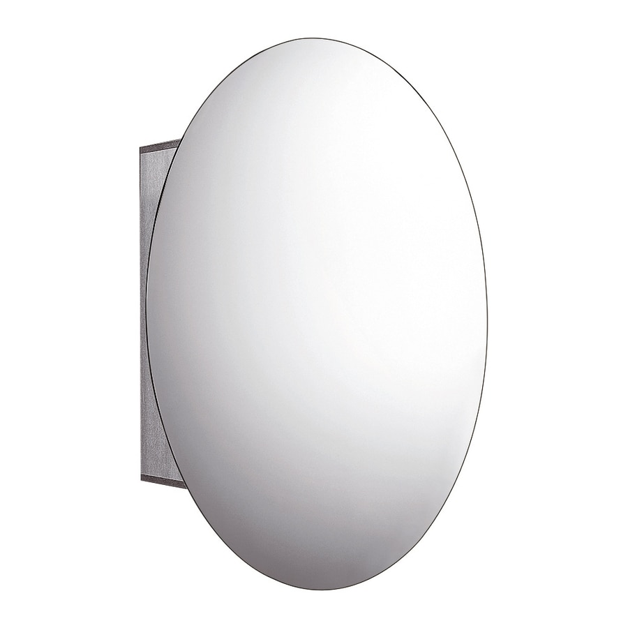 Whitehaus Collection 23.75-in x 31.5-in Oval Surface Mirrored Aluminum Medicine Cabinet