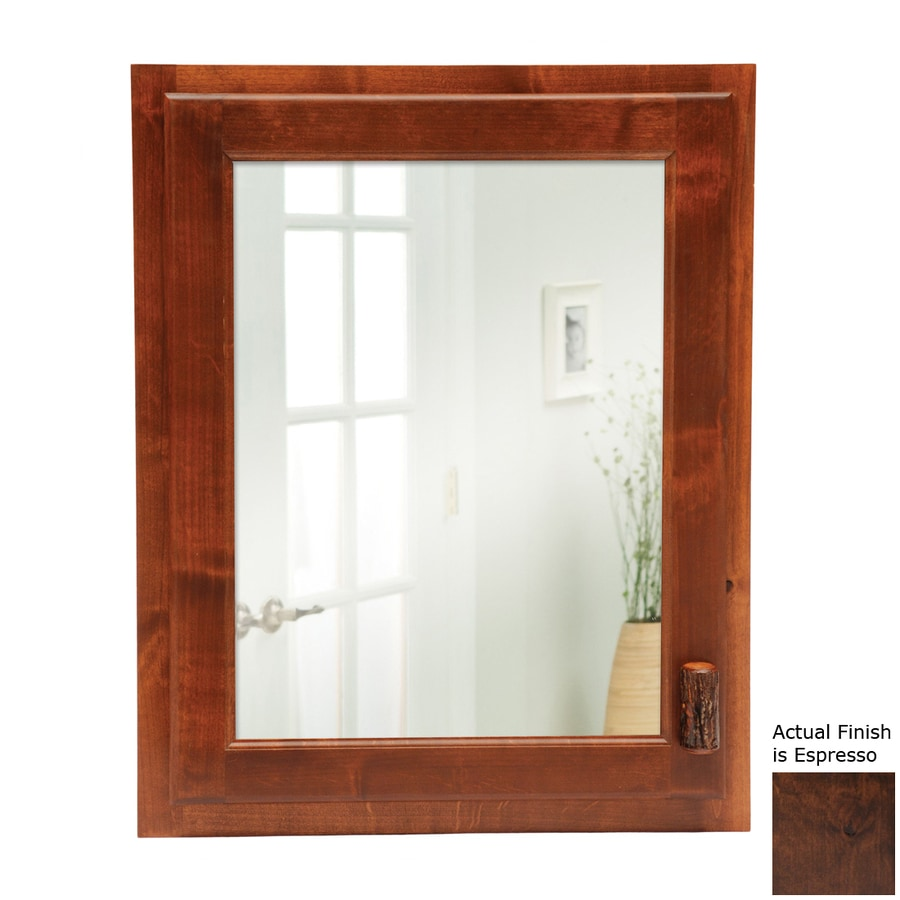 Fireside Lodge Furniture 18-in x 22-in Rectangle Recessed Hickory Mirrored Wood Medicine Cabinet