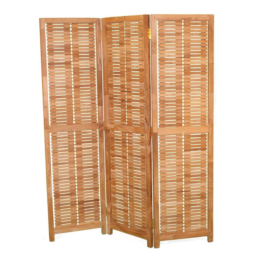 Shop jewels of java 57 in w x 71 in h teak outdoor privacy for Outdoor wood privacy screen