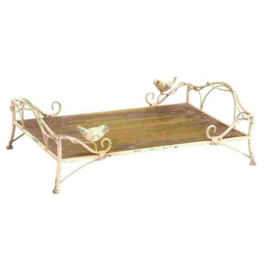 Woodland Imports White and Natural Brown Metal Rectangular Tray