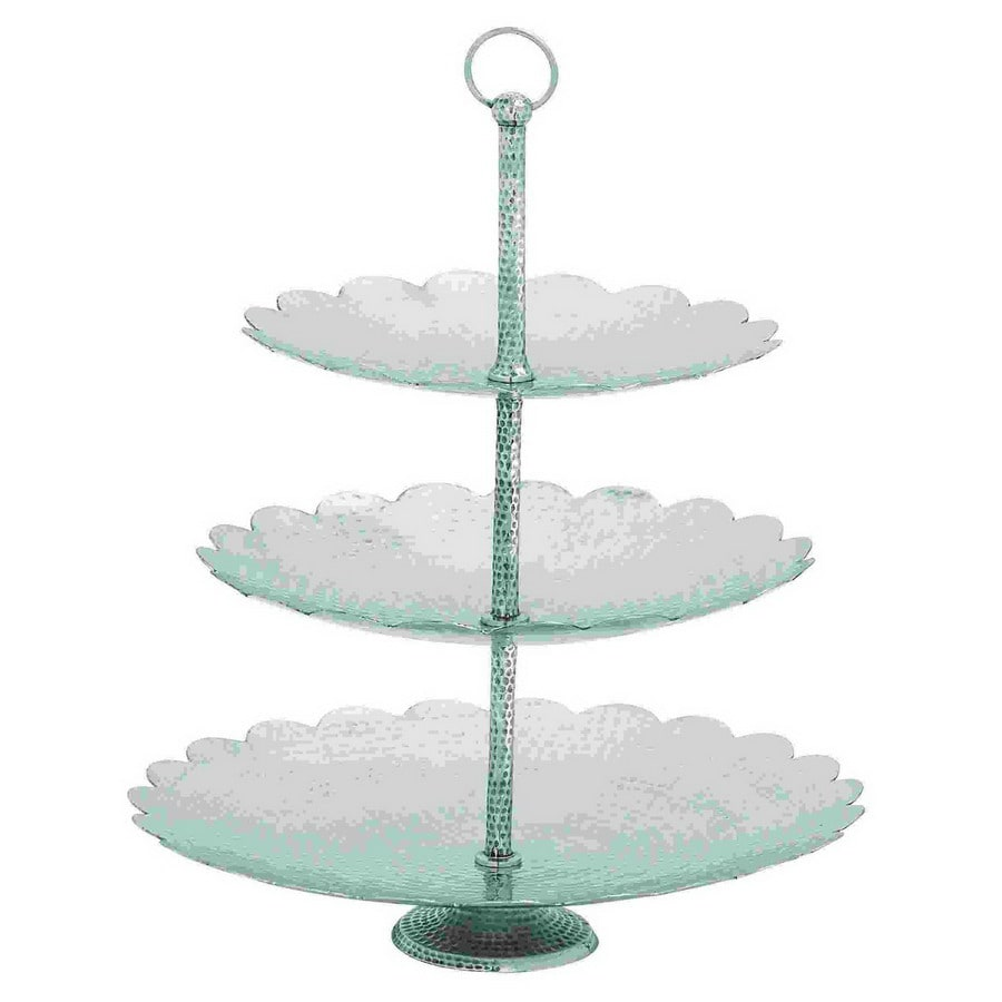 Woodland Imports Silver Round  Aluminum 3-Tier Tray