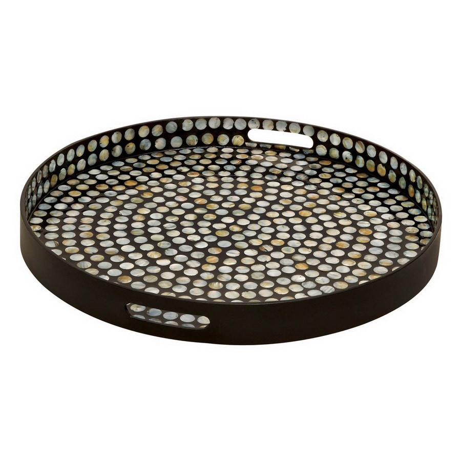 Top Shop Woodland Imports 24-in x 24-in Black Wood Round Serving Tray  OS04