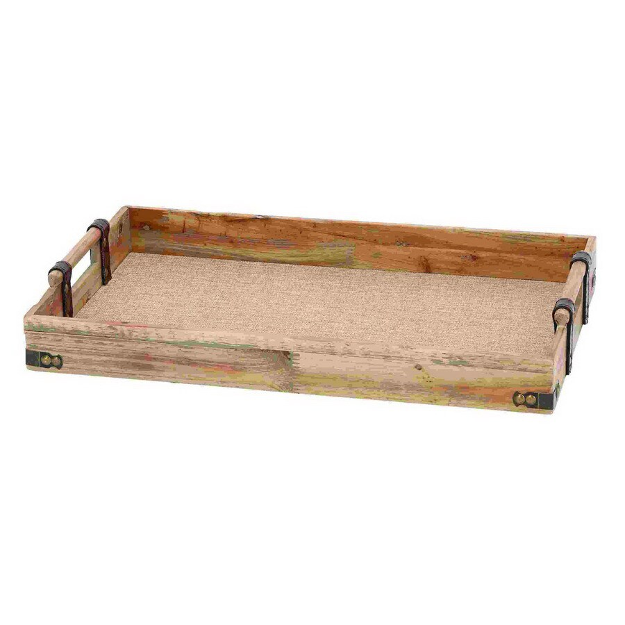 Woodland Imports 21-in x 13-in Wood Rectangle Serving Tray