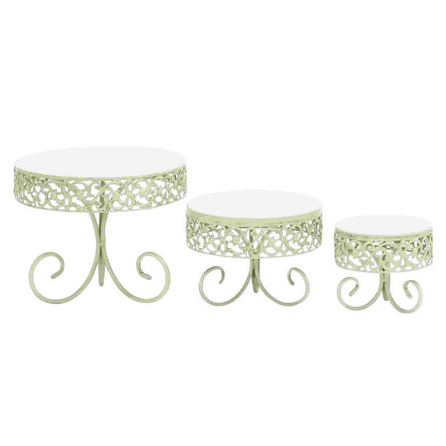 Woodland Imports 3-Pack White Round Cake Stands