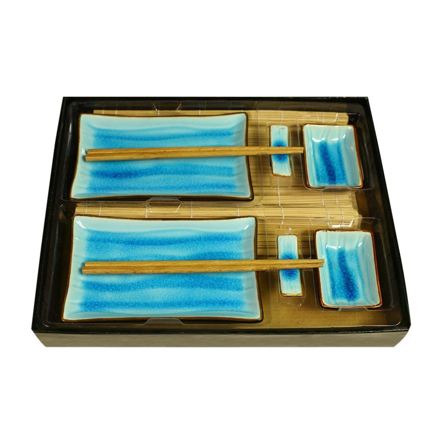 Firefly Home Collection Divine 14-in x 12-in Blue and Brown Divided Ceramic Rectangle Serving Tray with Plate Set