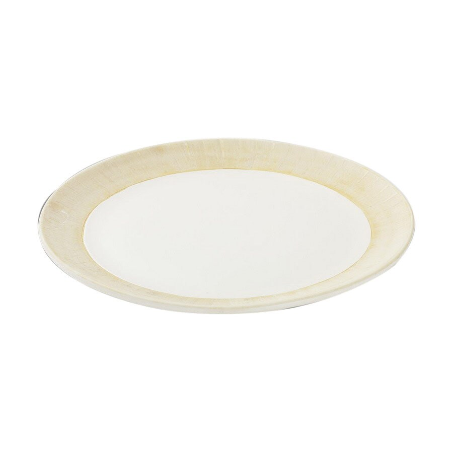 Firefly Home Collection Marquis 15-in x 15-in Matte White and Tan Ceramic Round Serving Platter