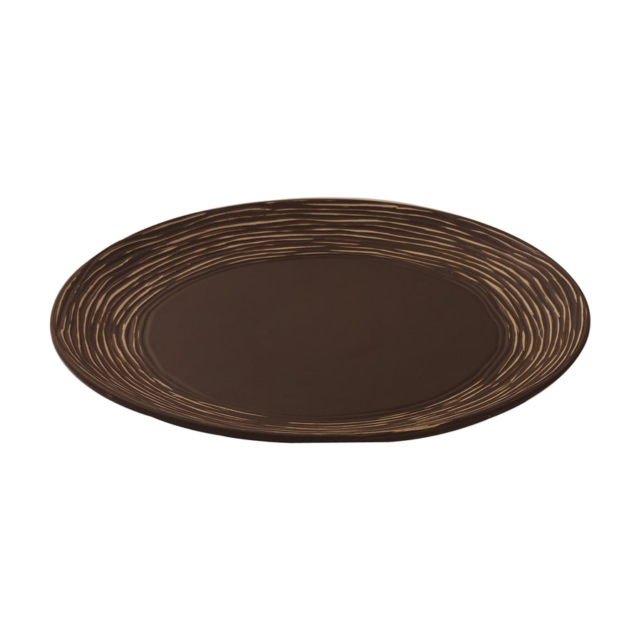 Firefly Home Collection Marquis 15-in x 15-in Matte Brown and White Ceramic Round Serving Platter