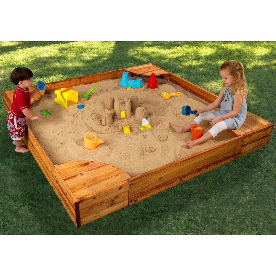 shop kidkraft 60 in x 60 in brown square wood sandbox at. Black Bedroom Furniture Sets. Home Design Ideas