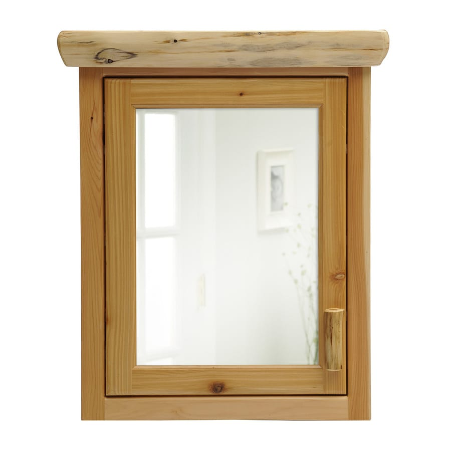 Fireside Lodge Furniture 27-in x 32-in Rectangle Surface Cedar Mirrored Wood Medicine Cabinet