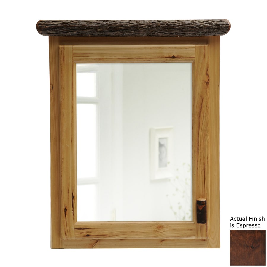 Fireside Lodge Furniture 27-in x 32-in Rectangle Surface Hickory Mirrored Wood Medicine Cabinet