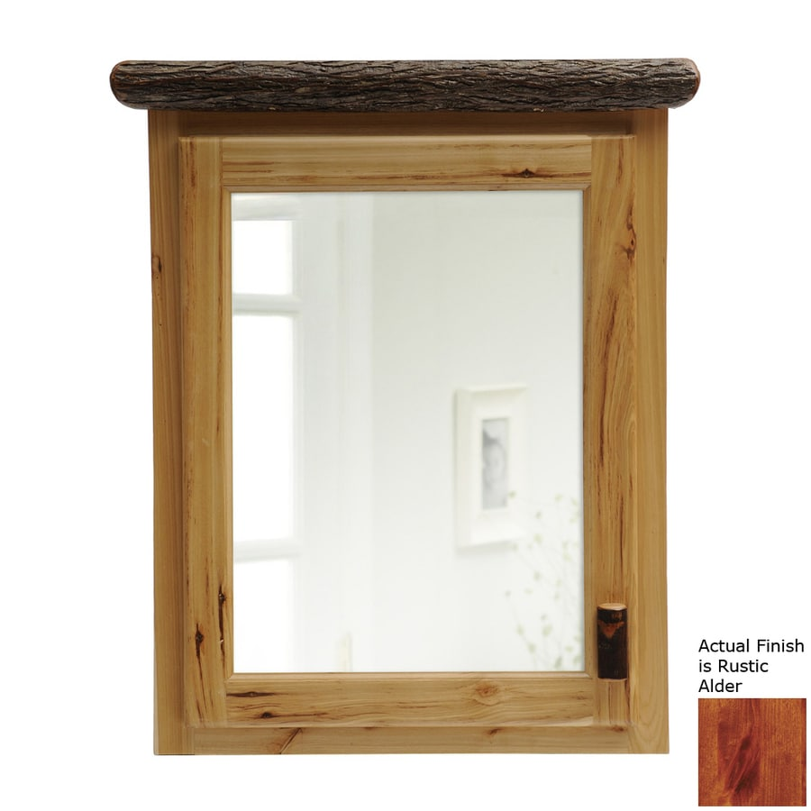 Fireside Lodge Furniture 33-in x 32-in Rectangle Surface Hickory Mirrored Wood Medicine Cabinet