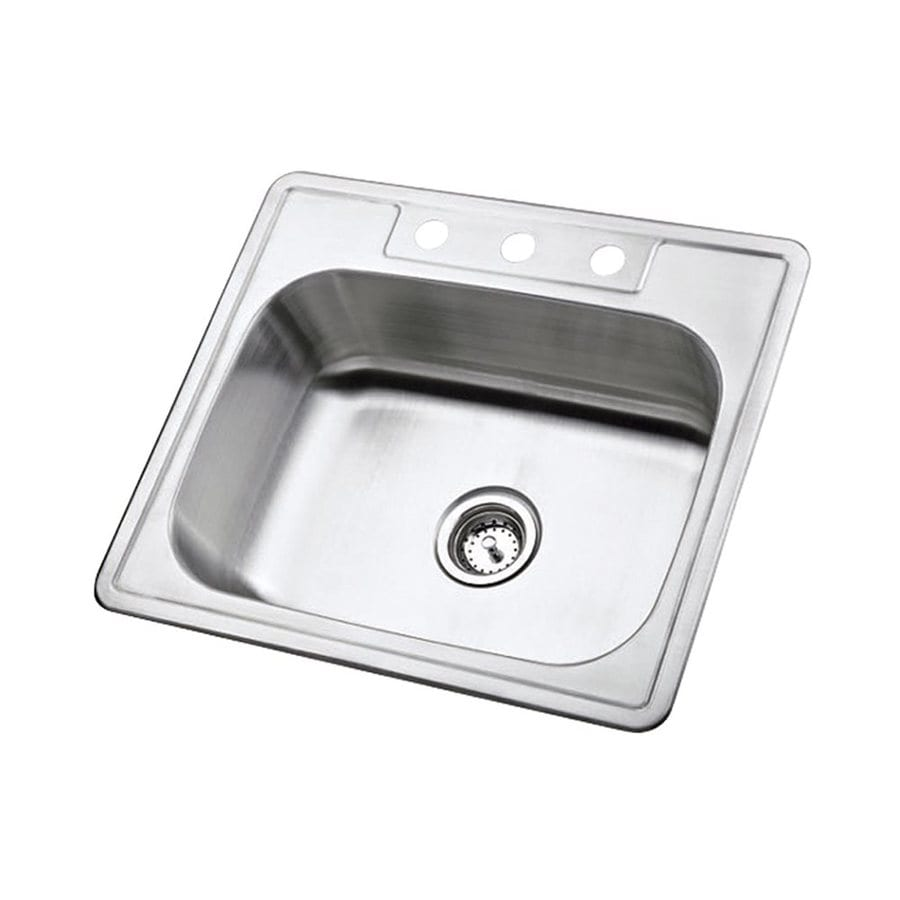Elements of Design Gourmetier 25-in x 22-in Brushed Nickel Single-Basin Stainless Steel Drop-in 3-Hole Residential Kitchen Sink