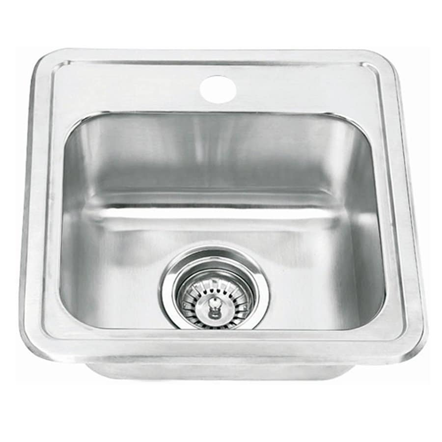 Yosemite Home Decor 15-in x 15-in Satin-Stainless Steel Single-Basin Stainless Steel Drop-in 1-Hole Commercial Kitchen Sink