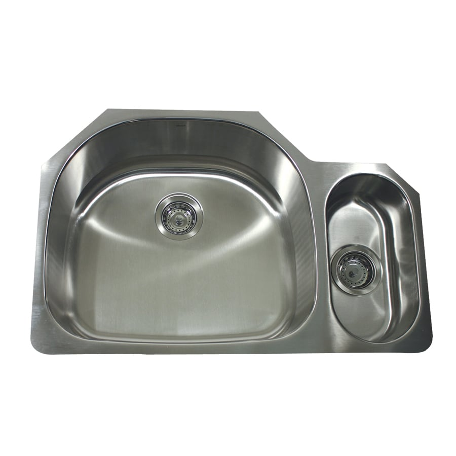 Nantucket 21.25-in x 32-in Satin Double-Basin Stainless Steel Undermount Kitchen Sink