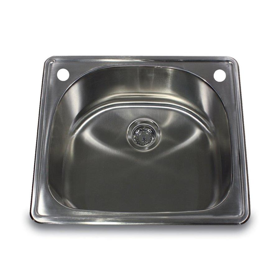 Nantucket 22-in x 25-in Satin Single-Basin Stainless Steel Drop-In Kitchen Sink