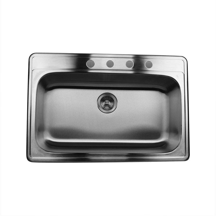 Nantucket 22-in x 33-in Satin Single-Basin Stainless Steel Drop-In Kitchen Sink