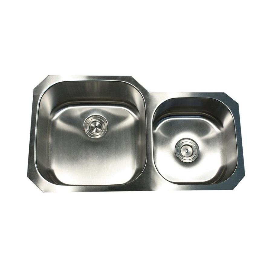 Nantucket 20.125-in x 35.375-in Satin Double-Basin Stainless Steel Undermount Kitchen Sink