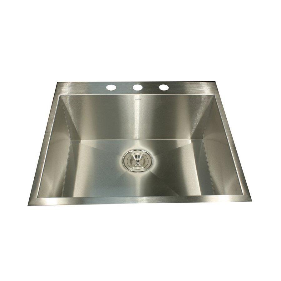 Nantucket 22-in x 25-in Satin Single-Basin Stainless Steel Drop-In Kitchen Sink