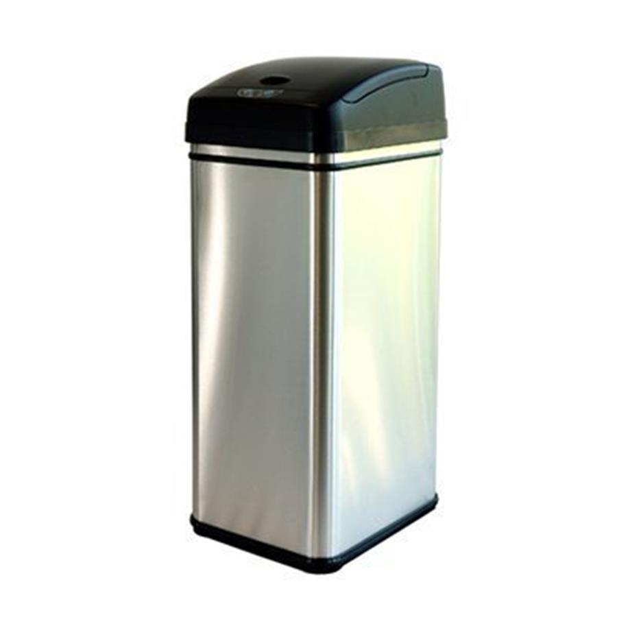 iTouchless 13-Gallon Brushed Silver Indoor Garbage Can