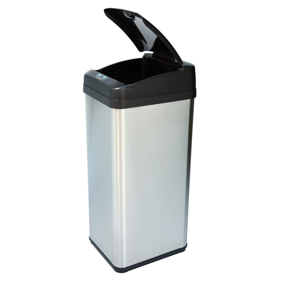 Shop iTouchless 13-Gallon Stainless Steel Metal Touchless Trash Can ...