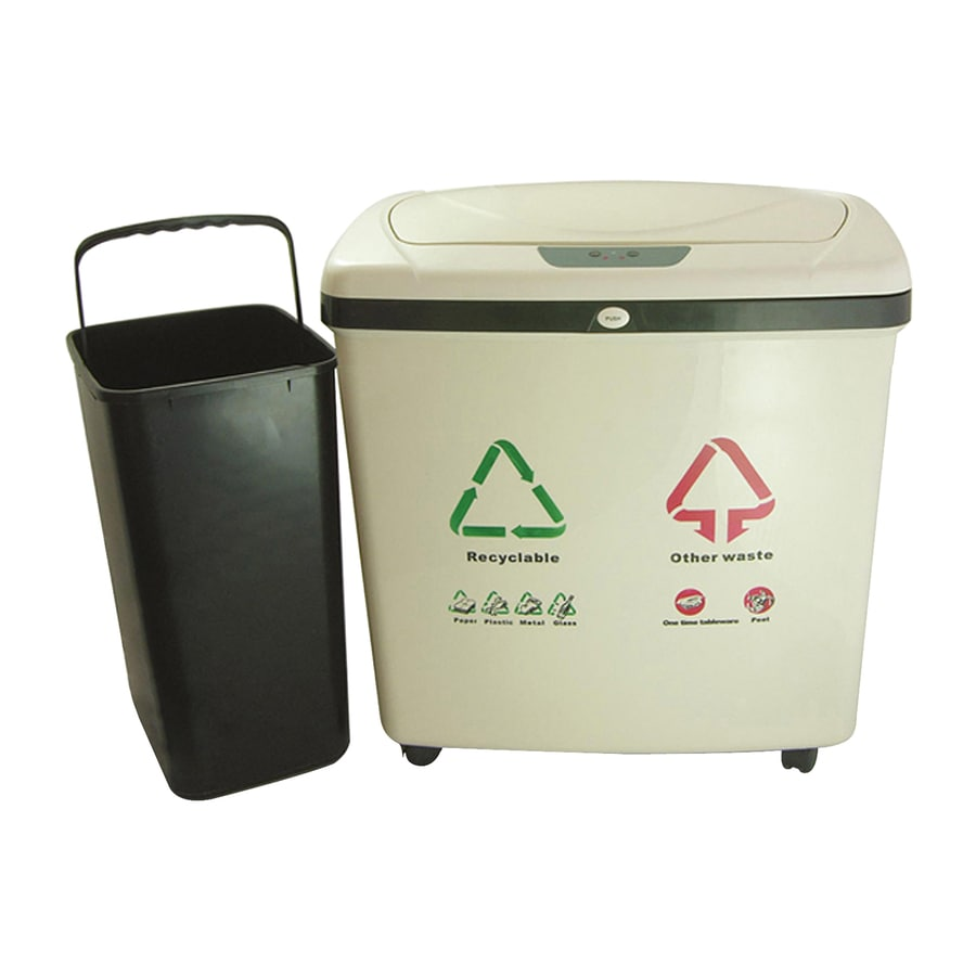 iTouchless iTouchless IT16RE Off White Automatic Recycle Touchless Trash Can