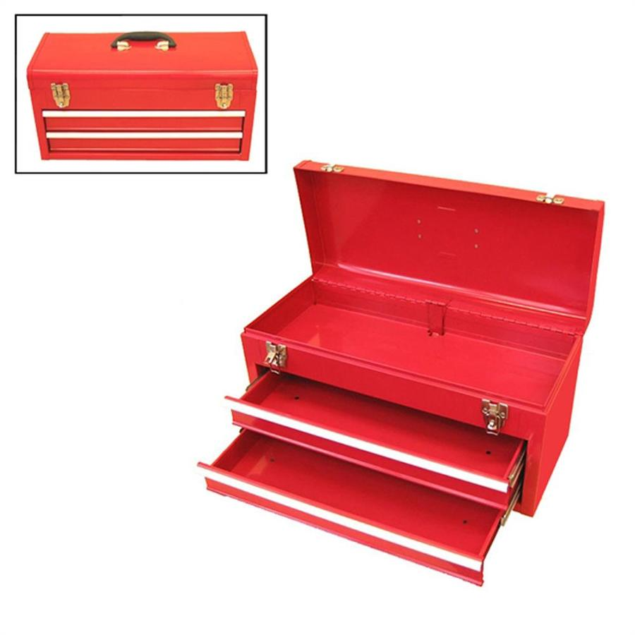 Excel 20.1-in 2-Drawer Red Steel Lockable Tool Box