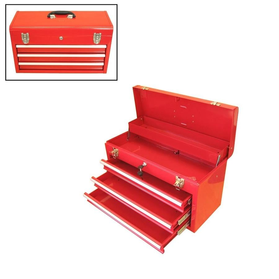 Excel 20.5-in 3-Drawer Red Steel Lockable Tool Box