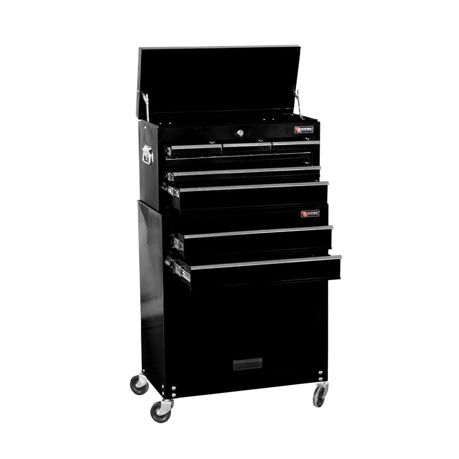 Excel 39.3-in x 24.3-in 8-Drawer Ball-Bearing Steel Tool Cabinet (Black)