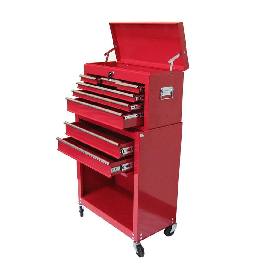 Excel 39.3-in x 24.3-in 8-Drawer Ball-Bearing Steel Tool Cabinet (Red)
