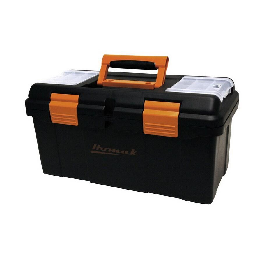 Homak 19.375-in Black Plastic Tool Box