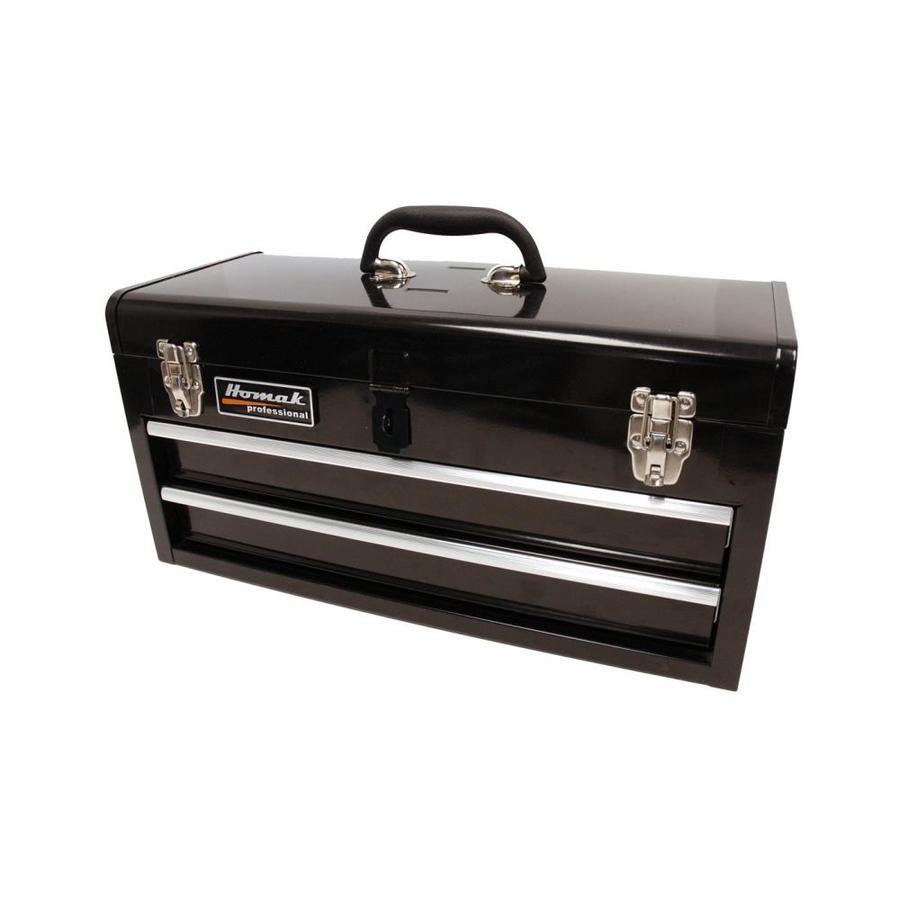 Homak 20-in 2-Drawer Black Steel Lockable Tool Box