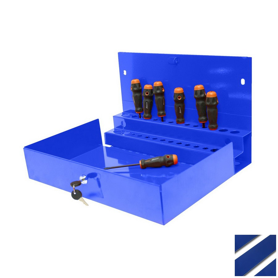 Homak 10.875-in Blue Steel Lockable Tool Box