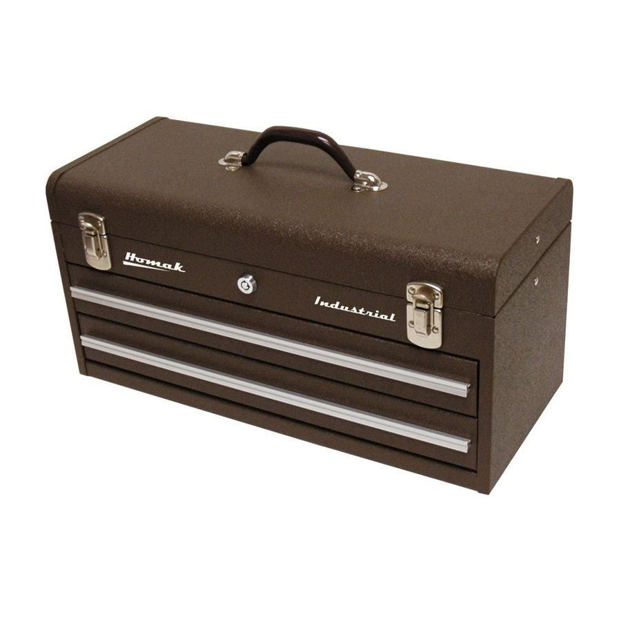 shop homak industrial 2 drawer steel lockable tool box brown at. Black Bedroom Furniture Sets. Home Design Ideas