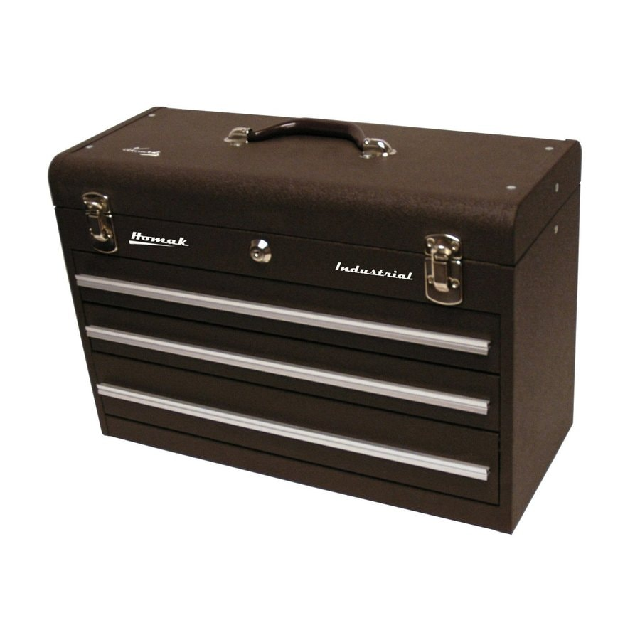 Homak 20.25-in 3-Drawer Brown Steel Lockable Tool Box