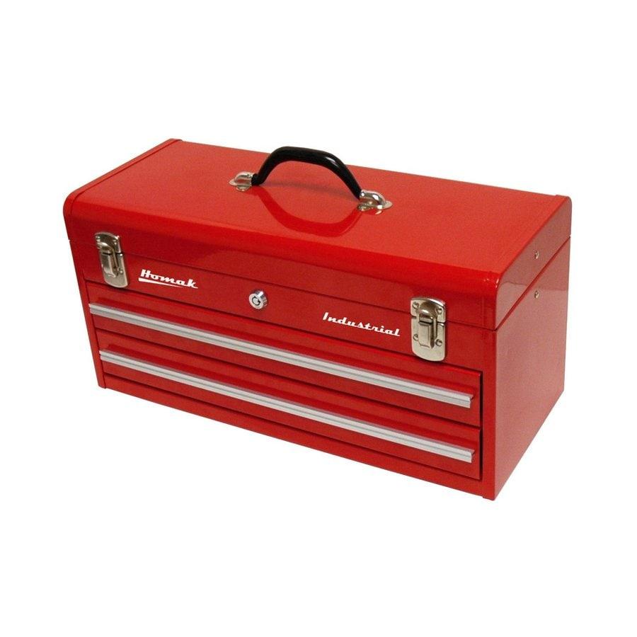 Homak Industrial 20.125-in 2-Drawer Red Steel Lockable Tool Box