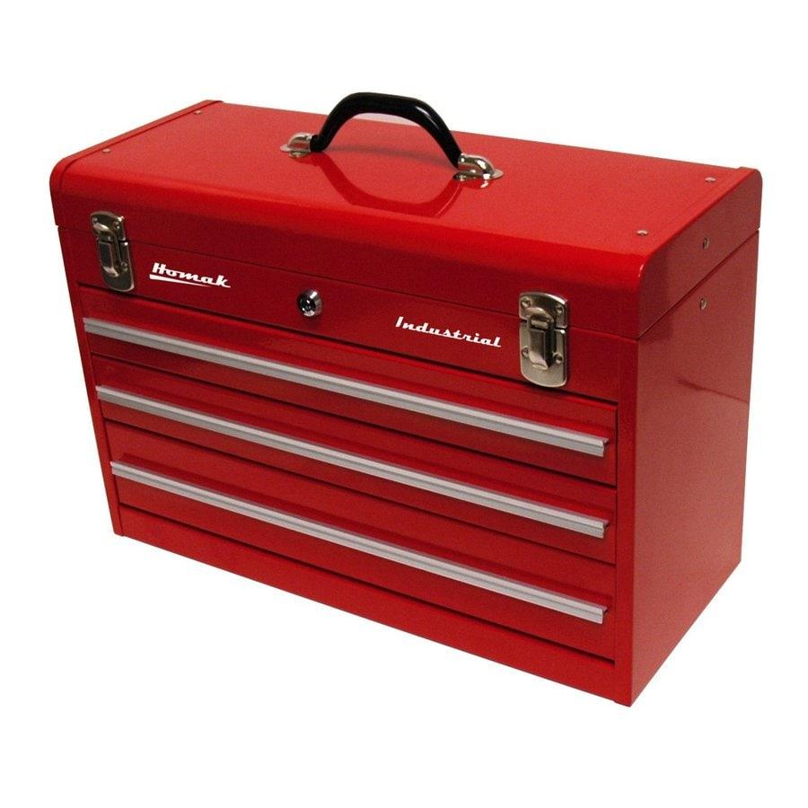 Homak 20.25-in 3-Drawer Red Steel Lockable Tool Box