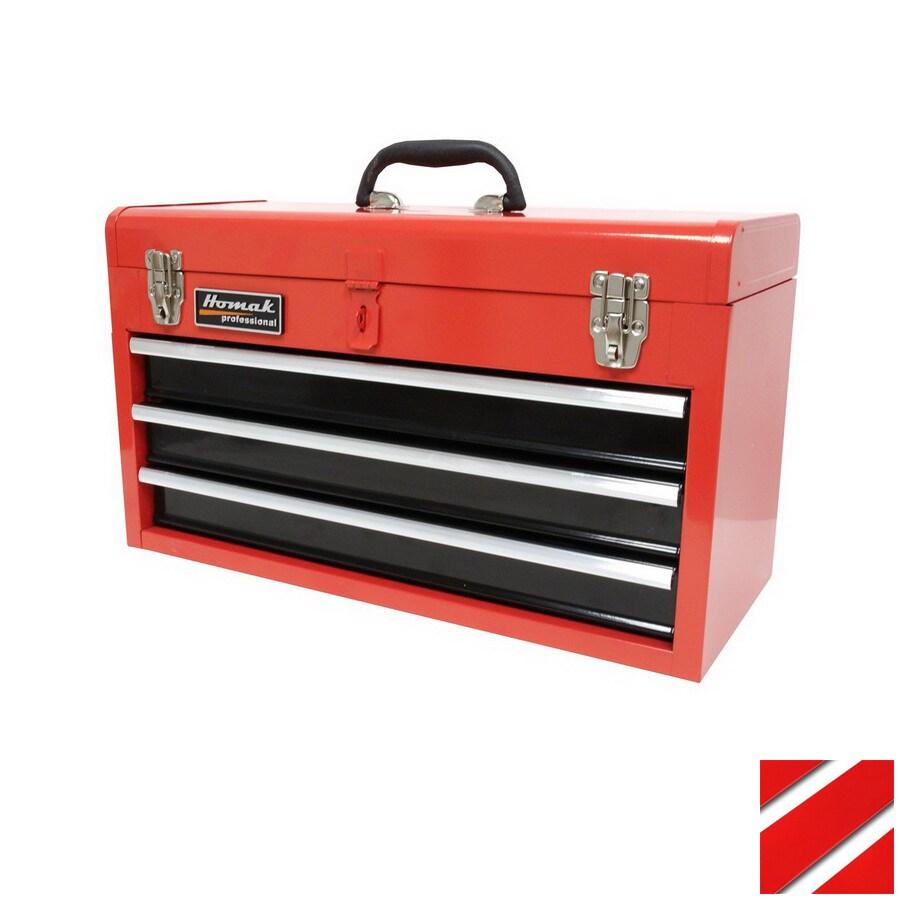 Homak 20.5-in 3-Drawer Red Steel Lockable Tool Box