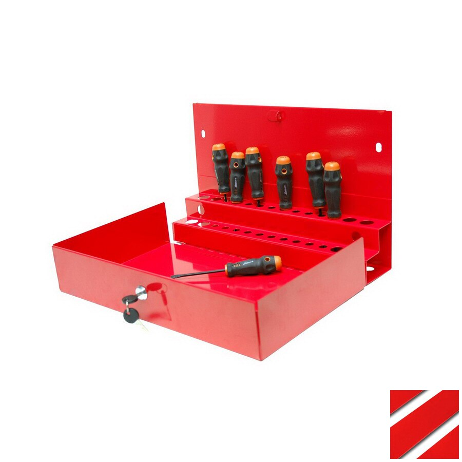 Homak 10.875-in Red Steel Lockable Tool Box