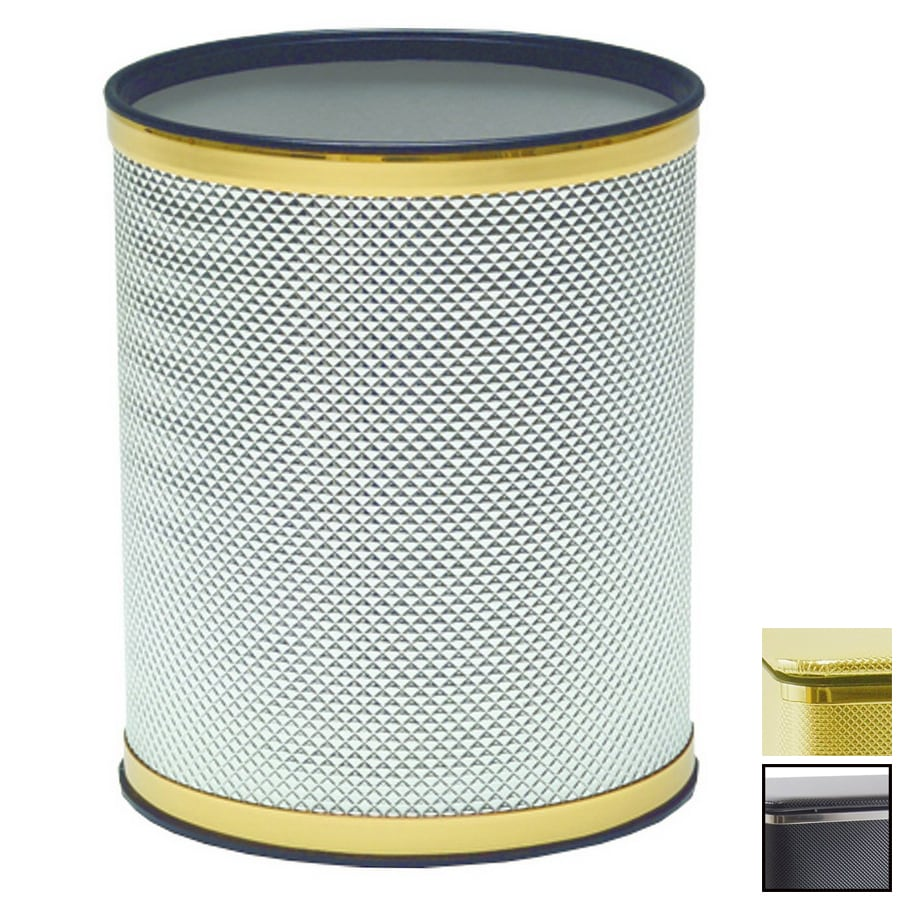 Shop redmon bath jewelry gold plastic wastebasket at for Gold bathroom wastebasket