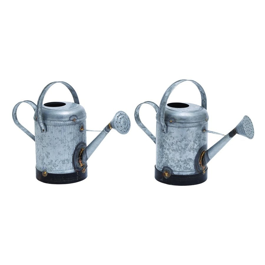 Woodland Imports Set of 2 0.5-Gallon Galvanized Metal Traditional Watering Cans