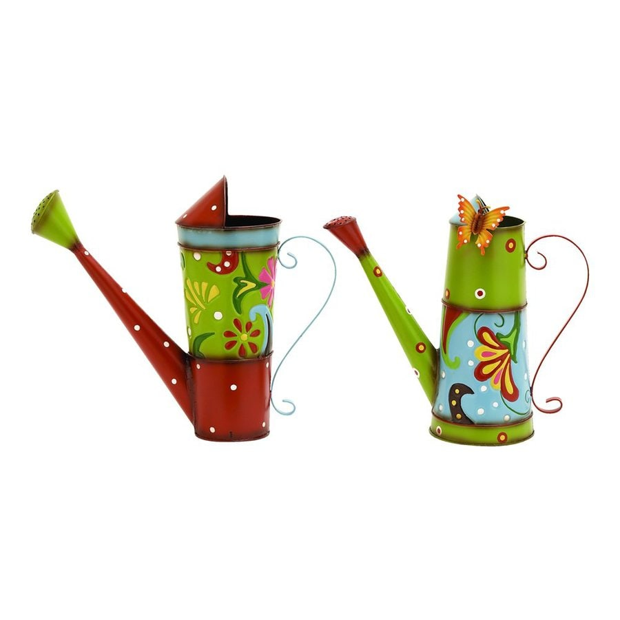 Woodland Imports Set of 2 Bright and Colorful 0.5-Gallon Metal Flower and Butterflies Watering Cans