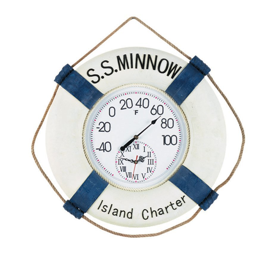 RAM Gameroom Products Wireless Indoor/Outdoor Handpainted Minnow Clock Thermometer with Clock