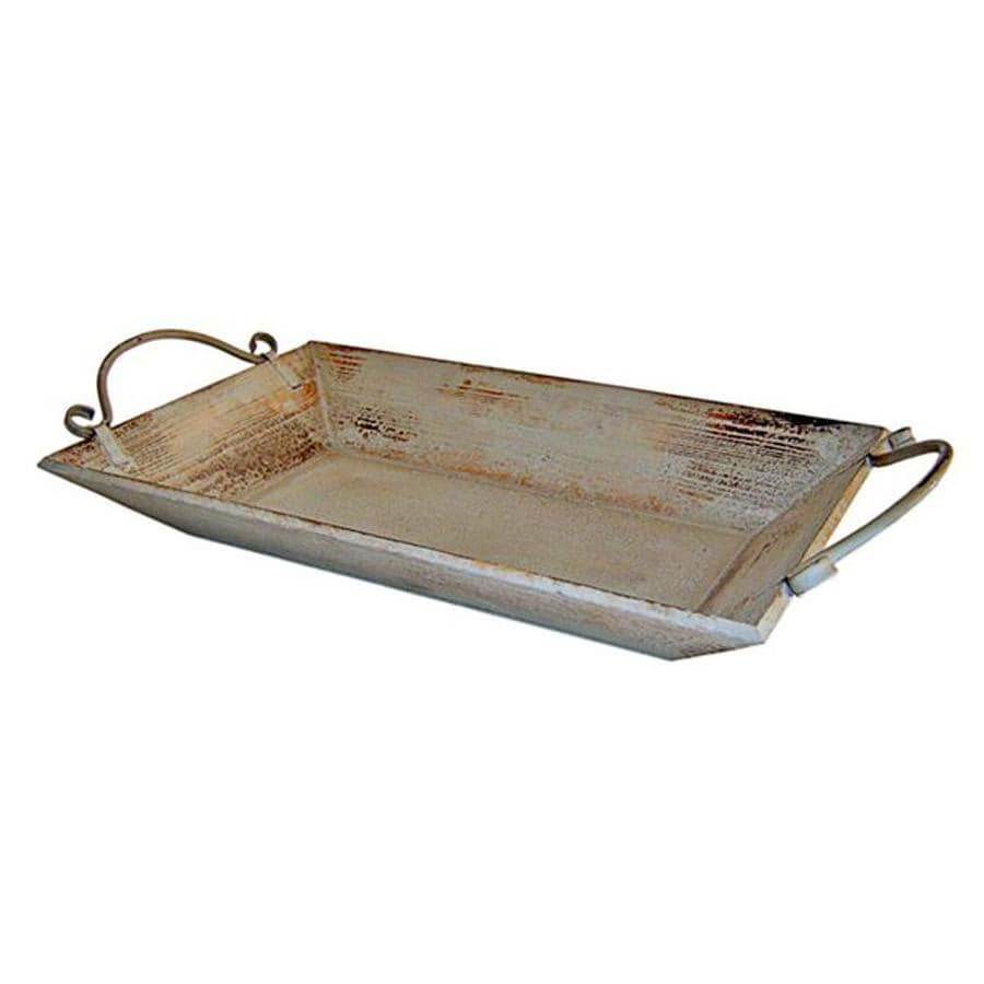 Cheung's Shabby Chic 25.25-in x 12-in Light Grey Wood Rectangle Serving Tray