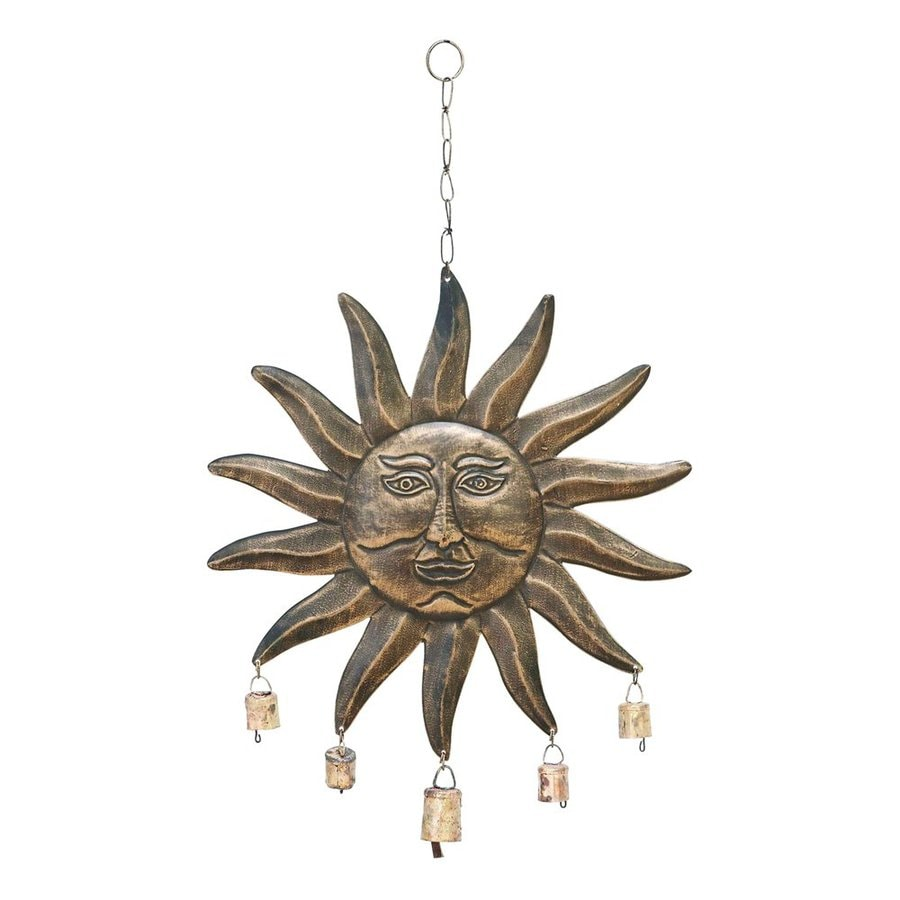 Woodland Imports 24-in -in Brown/Copper Metal Sunface Wind Chime