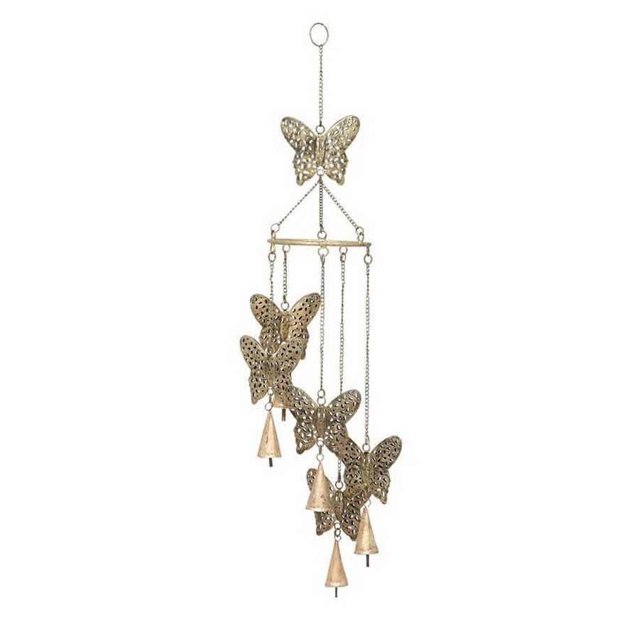 Woodland Imports 28-in L Brown Butterfly Metal Wind Chime