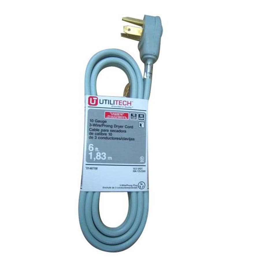 Shop Utilitech 6-ft 3-Wire Gray Dryer Appliance Power Cord at Lowes.com