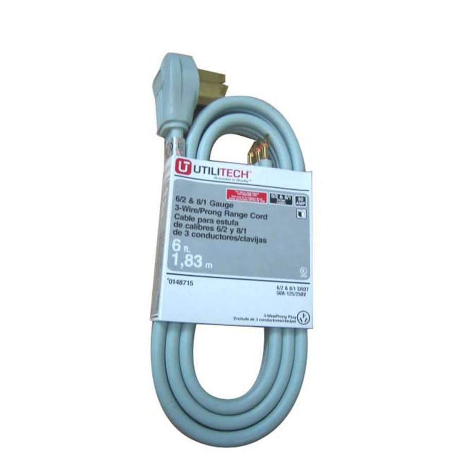 Shop Utilitech 6-ft 3-Wire Gray Range Appliance Power Cord at Lowes.com