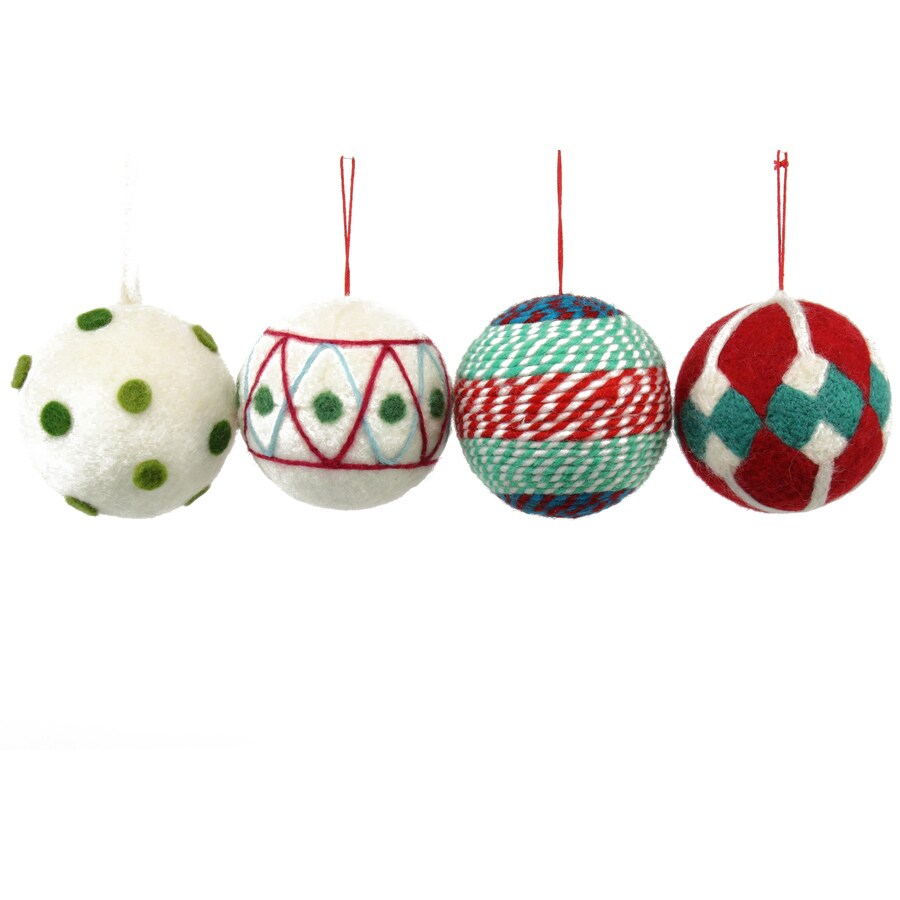 Holiday Living 4-Pack Red, Blue, Green, and White Ornament Set