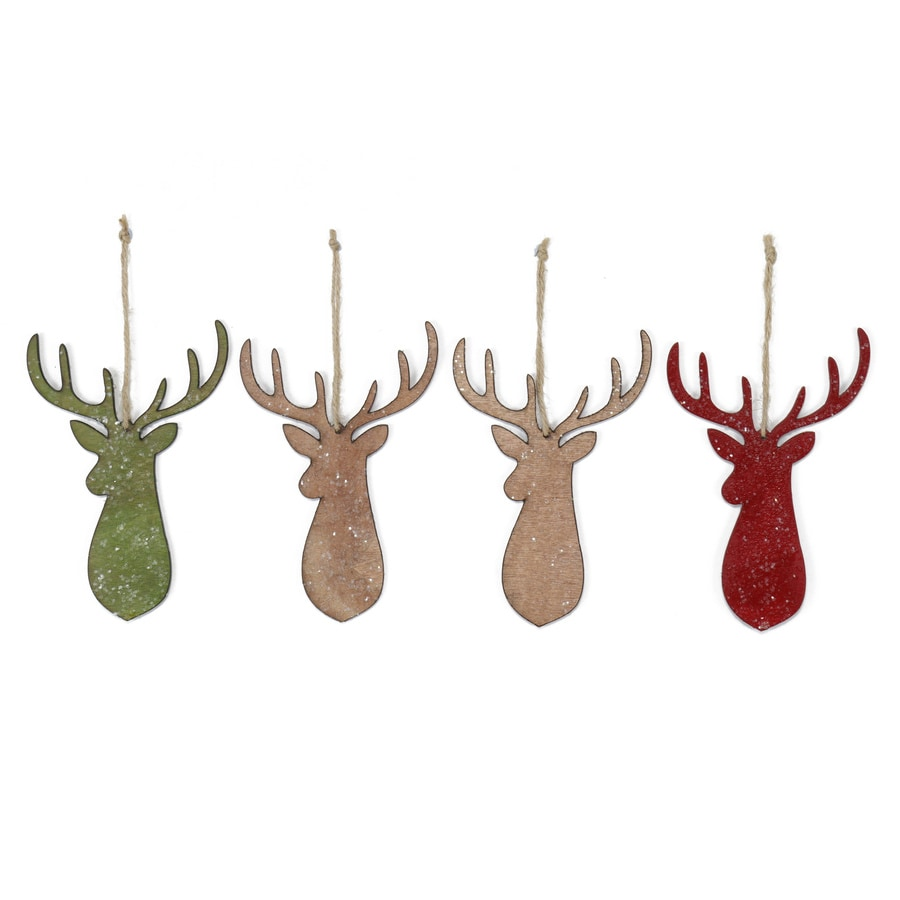 Holiday Living 4-Pack Red, Green, Cream, and Brown Ornament Set